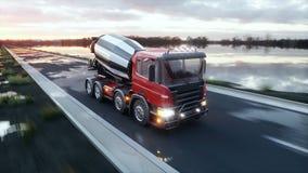 Concrete mixervrachtwagen op weg Zeer snel drijvend De bouw en vervoerconcept het 3d teruggeven Stock Afbeelding