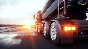Concrete mixervrachtwagen op weg Zeer snel drijvend De bouw en vervoerconcept het 3d teruggeven Royalty-vrije Stock Foto's