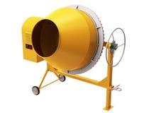 Concrete mixing device. Yellow empty concrete mixer on a white background Royalty Free Stock Photo