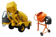 Concrete mixing machines. The image of a concrete mixing machines under the white background Stock Photos