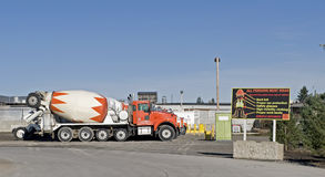 Concrete mixing truck yard Stock Images