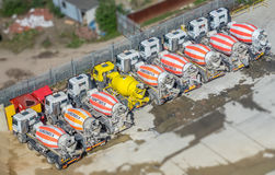 Concrete mixing trucks from above Royalty Free Stock Photo
