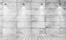 Concrete muur en het houten vloer binnenlandse 3d teruggeven als achtergrond Royalty-vrije Stock Foto's