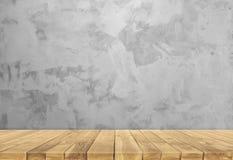 Concrete muur en houten basis royalty-vrije stock afbeelding