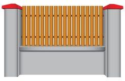 Concrete omheining met houten tussenvoegsel vector illustratie