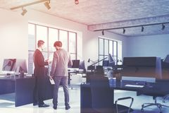 Concrete open space office interior side toned Stock Photography
