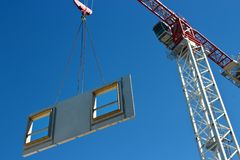 Concrete panel with crane Royalty Free Stock Photo