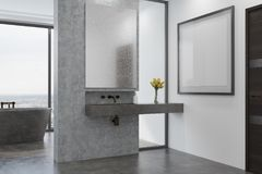 Concrete bathroom, gray tub and sink side Royalty Free Stock Images