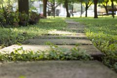 Concrete park stepping stones pathway royalty free stock photo