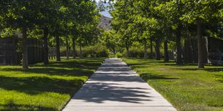 Concrete path amid lawn lined with trees in Utah. Symmetrical view of a concrete path in Utah Valley on a sunny day. The path runs in the middle of bright stock photo