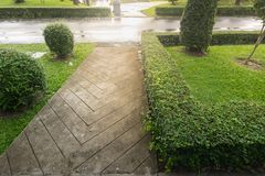 Concrete path. In the public park royalty free stock photography