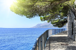 Concrete path by the sea. Photographed in the summer stock photo