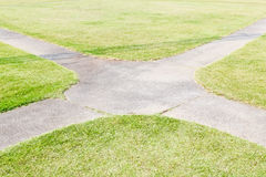 Concrete pathway and green grass at park. Concrete pathway Stock Image