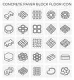 Paver block icon. Concrete paver block floor icon set Royalty Free Stock Photography