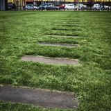 Concrete pavers marking location of escape tunnels, Berlin Wall Memorial Park, Bernauer Stra�e, Mitte, Berlin, Germany Stock Image