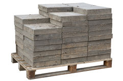 Concrete paving blocks  are accurately put on wooden  pallet Royalty Free Stock Photos