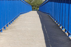 Concrete pedestrian bridge in blue tone and tree Royalty Free Stock Photography