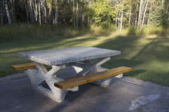 Concrete Picnic Table Forest Rest Area Royalty Free Stock Photos