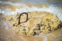 Concrete piece near sea. In summer day royalty free stock photos