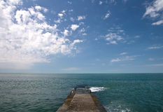 Concrete pier on Black Sea coast. Russia, Sochi, Adler Stock Photography