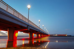 Concrete pier in Kolobrzeg. Long exposure shot at sunset Royalty Free Stock Images