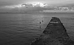 Concrete Pier in Odessa, Ukraine on the Black Sea Stock Photo