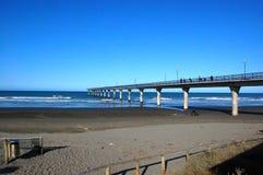 Concrete pier at town New Brighton beach Stock Photos