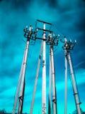 Concrete pijlers van lijn met hoog voltage royalty-vrije stock foto's
