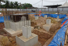 Concrete pile cap concreted at the construction site Royalty Free Stock Photo