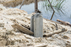 Concrete piles in ground Stock Photography