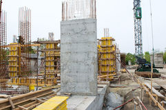 Concrete Pillar at the Construction Site Stock Photo