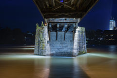 Concrete pillar of the historical bridge in Bad Saeckingen Royalty Free Stock Photo