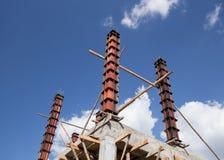 Concrete pillar mold for house construction Royalty Free Stock Photos