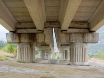 Concrete pillars and beams of  a motorway bridge viaduct Royalty Free Stock Image