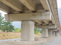 Concrete pillars and beams of  a motorway bridge (viaduct) Stock Photo