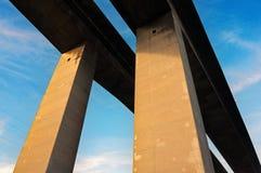 Concrete pillars on bridge Stock Images