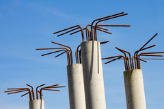 Concrete pillars construction details. Unfinished Concrete Pillars with metal rods ,building Construction Details Stock Photos