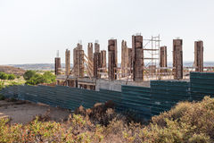 Concrete pillars of construction of a villa in Spain Royalty Free Stock Images