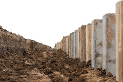 Concrete pillars, eroded road barriers. Stock Image