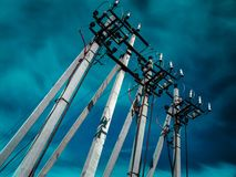 Concrete pillars of high-voltage line royalty free stock photo