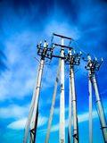 Concrete pillars of high-voltage line royalty free stock photography