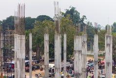 Concrete pillars on the market. Stock Images