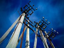 Concrete pillars of high-voltage line stock photos