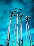 Concrete pillars of high-voltage line royalty free stock photos