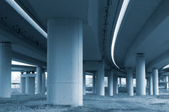 Concrete pillars of viaduct in monotone Stock Image