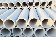 The concrete pipe. Pile up in stack in the construction site Royalty Free Stock Photo