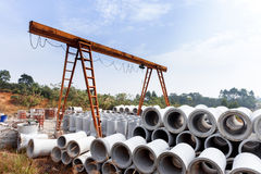 Concrete pipe in construction site Royalty Free Stock Image