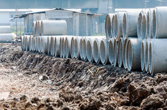 Concrete pipe piles Stock Images