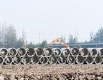 Concrete pipe piles Stock Photos
