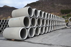 Concrete pipe. Production in the palnt Royalty Free Stock Photos
